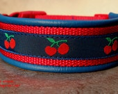Handmade Easy Release Buckle Leather Dog Collar CHERRIES by dogs-art in electric blue/red/cherry