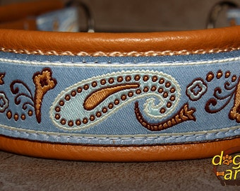 """Dog collar """"Paisley Perfection"""" by dogs-art, leather dog collar, paisley dog collar, slip dog collar, martingale collar, dog collar leather"""