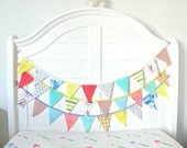 Little Boy Western Fabric Bunting Pennant Garland Decoration 9 Feet / Vintage Circus Style