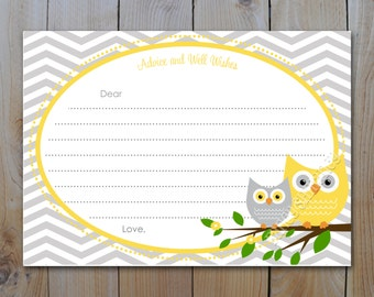 Owl Baby Shower Advice Card / INSTANT DOWNLOAD / Yellow and Grey Owls with Grey Chevron / PRINTABLE / 42842