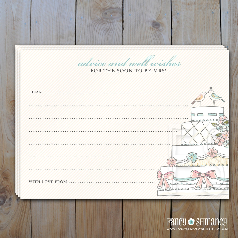 bridal shower advice card instant download wedding cake