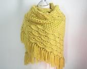 Crochet Yellow Lemon Shawl with fringe