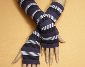SALE Striped Armwarmers with Thumb Holes, Purple, Thick Boho Hippie Fingerless Gloves, Tribal, Dance, Tattoo Covers, Ladie's Sleeves