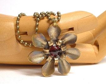Red Brass and Garnet Flower Pendant Necklace Metal Flower