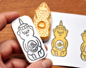 Sweet Honey Bear hand carved rubber stamps, set of 2. Handmade rubber stamp. Rubber stamp