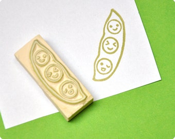 Nice peas hand carved rubber stamp. Rubber stamp. Handmade stamp. Picnic stamp