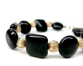 Black onyx bracelet with gold-filled accents, Black stone bracelet, Black and gold bracelet