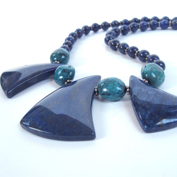 Lapis necklace with Turquoise and bali sterling silver