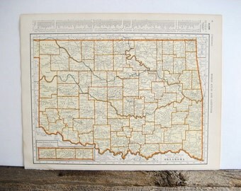 Map Oklahoma and Ohio 2 Sides 1940 Original