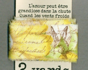 Easter rabbit gift wrap shabby french chic trim vintage hand stamped Muslin c693 . ....oohlala