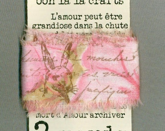 easter rabbit pink gift wrap shabby french chic trim vintage stamped Muslin c694 . ....oohlala