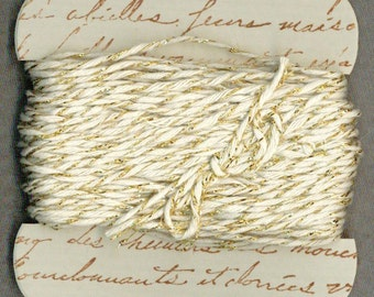 20 yards bakers twine gold sparkle hand made ribbon card french script gift r869 . ....oohlala
