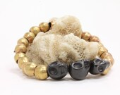 Black Skull Bracelet- stones skulls and vintage African brass beads
