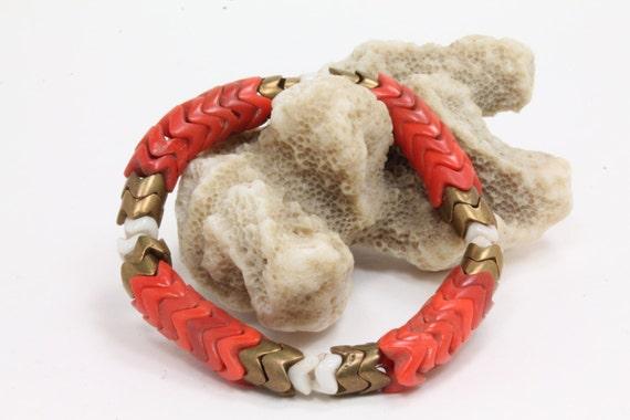 Red Snake Beaded Tribal Bracelet- red, white and brass vintage African snake beads