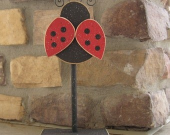 Tall Standing LADY BUG Block for Lady Bug decor, Girl room decor, shelf, desk, office and home decor