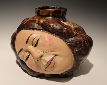 Surreal Art Vase, Dreaming Head Vessel Sculpture, Wabi Sabi Ikebana Face Pot, Sleeping Goddess