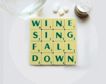 Wine Sing Coaster, upcycled scrabble tiles, cork backing, wedding gift, wine lover Valentine's gift