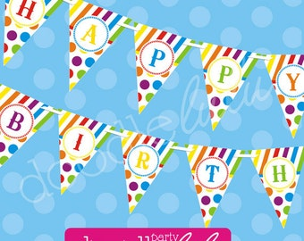 Rainbow Happy Birthday Banner, Colorful Kids Birthday Rainbow Pennant Banner, DIY Party Decorations - PRINTABLE INSTANT DOWNlOAD