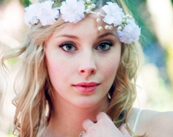 white flower crown, ivory pearls headband