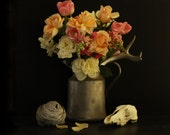 Still Life of Flowers and Skull and Wasp Nest 10x10 - lucysnowephotography