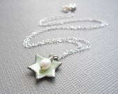 Pale Green Jewish Star of David Necklace White Pearl Sterling Silver