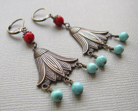 Ancient Egyptian Earrings Lotus Red Coral Blue Turquoise