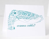 Cuttlefish, Funny valentines day, birthday cards, Wanna Cuttle, mother's day, father's day, science