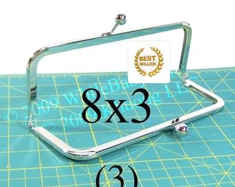 3 Nickel-free 8x3 purse frames with Kisslock