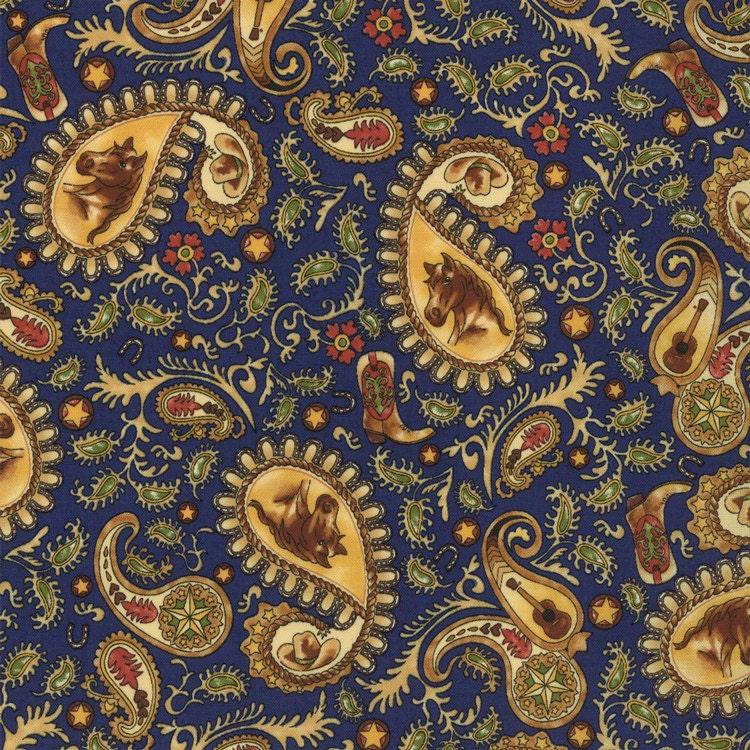 Horseshoe Trail Paisley Moda Western Quilt Fabric Indigo Blue