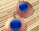 Statement Tribal Copper Earrings, Woven design, bohemian earrings