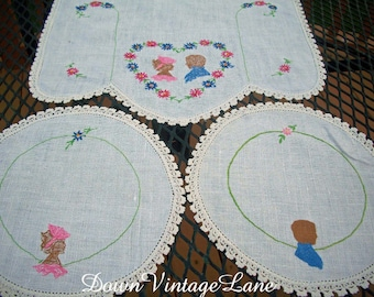 Vintage Embroidered Doily Set Boy and Girl Pink and Blue