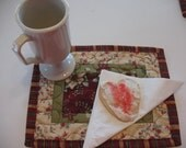 Quilted Mug Rug Set of 2 or Personal Placemats