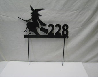 Witch Address Sign Custom Metal Yard Art