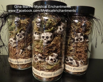 Medium Jar of Garden GNOME Skulls