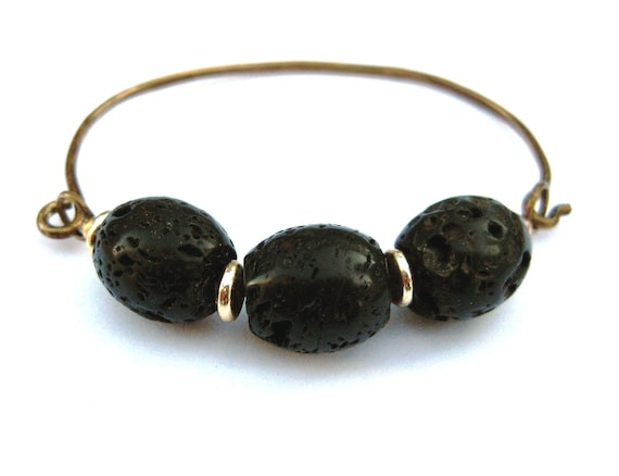 Black Gold Brass Bangle Bracelet Lava Rock Hammered Oval Shaped Antique Stone Stackable Hinge Bracelet Handmade Jewelry Canada