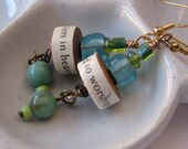 Your Voice Matters in Heaven earrings blue green glass text dangle