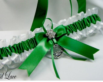Irish wedding garters Emerald green Irish Wedding garter claddaugh Toss Garter
