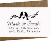 Custom Wedding Stamp - Custom Rubber Stamp - Personalized Stamp - Custom Stamp - Return Address Wedding -save the date-birds theme