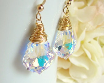 Crystal Earrings, Crystal and Gold, Crystal Bridesmaid Earrings, Baroque Earrings, Gold Filled, Drop Earrings, Wire Wrapped, Wedding Jewelry