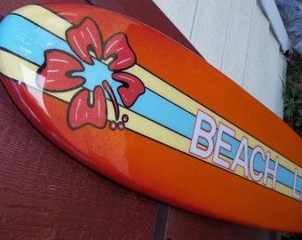 Four foot surfboard wall hanging, surfboard wall art, beach decor
