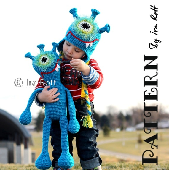 PATTERN - Plutonian Paul Alien Monster Hat and Toy Set - Crochet PDF Pattern
