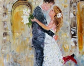 Commission a Custom Original Oil painting Wedding Romance Couple palette knife fine art modern impressionism on canvas by Karen Tarlton