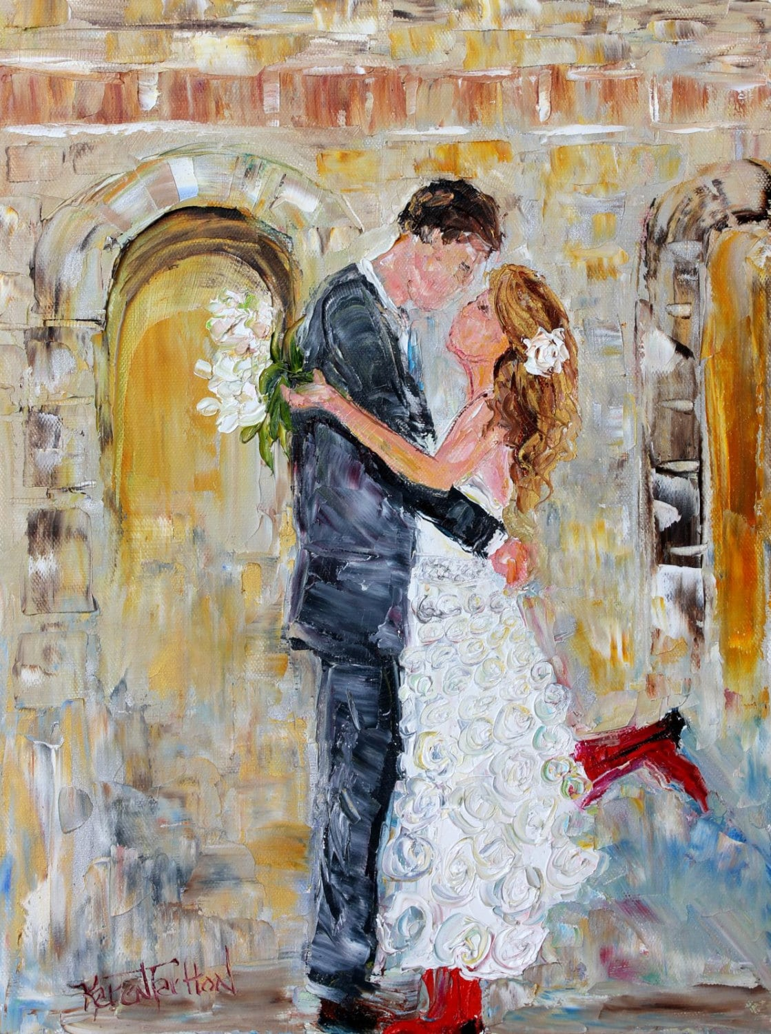 Commission a Custom Original Oil painting Wedding by Karensfineart