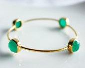Reserve Listing for Jeanne  -Bangle Emerald Green Gemstone Bangles - Bezel Set Bangles - Gold Bracelets - Stacking Bangles