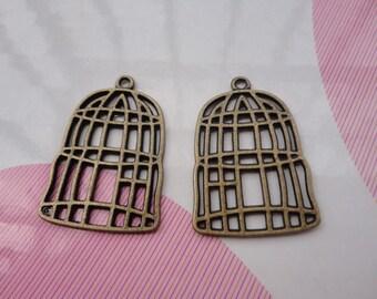 10pcs antique bronze bird cage findings 30mmx20mm