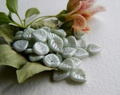 Leaf Beads Czech Glass Heart Leaf Beads Opaque with Light Grey Picasso Luster 9mm (25pcs)