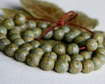 Czech Glass Druk Beads 6mm Matte Olive & Brown Speckled Picasso (50pcs) NEW