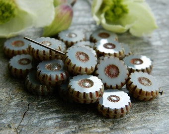 Picasso Czech Glass Beads,Table Cut Wheel Beads, Large Daisy Beads, 13mm , Opaque Grey & Metallic Picasso (10pcs) NEW
