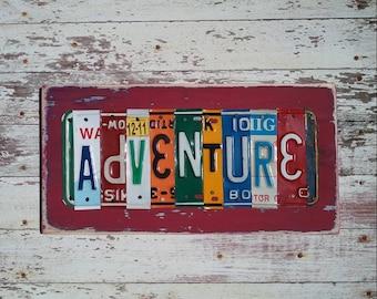 ADVENTURE road trip travel Black Blue Orange Aqua Man Mancave Word Block Sign Custom Funky States License Plate Art Recycled