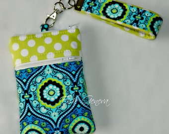 Aqua & Blue with Lime Dots iPhone Case with Zipper Closure and Wristlet w/Front Zipper Pocket  iPhone 4 5 6 Plus Note
